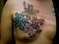 Pink blue and yellow Lily flowers tattoo