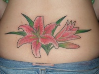 Lily flower and blossom on lower back